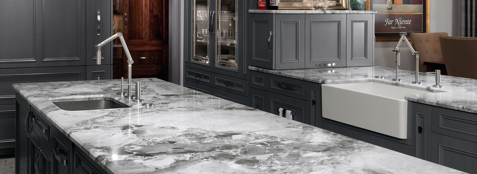 Kitchens With White Macaubas Quartzite And Dark Cabinets