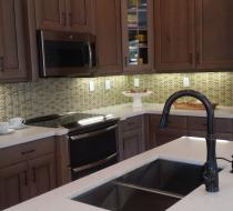 Custom Kitchen with White Quartz Countertop